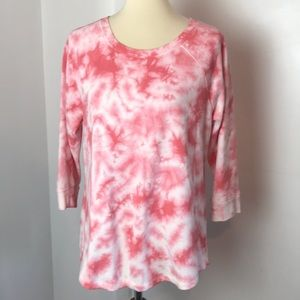Sonoma Pink & White Tie Dyed Knit Top M